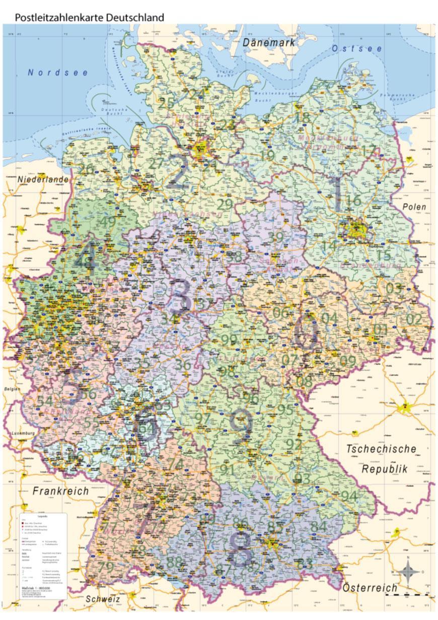 Postleitzahlenkarte Plz Deutschland Mit Bundeslandern Wand Karte