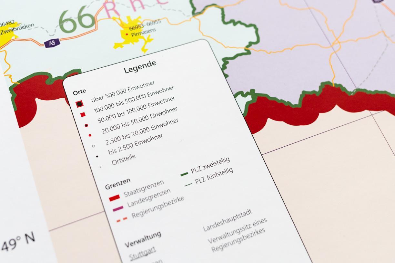 Grosse Postleitzahlenkarte Baden Wurttemberg