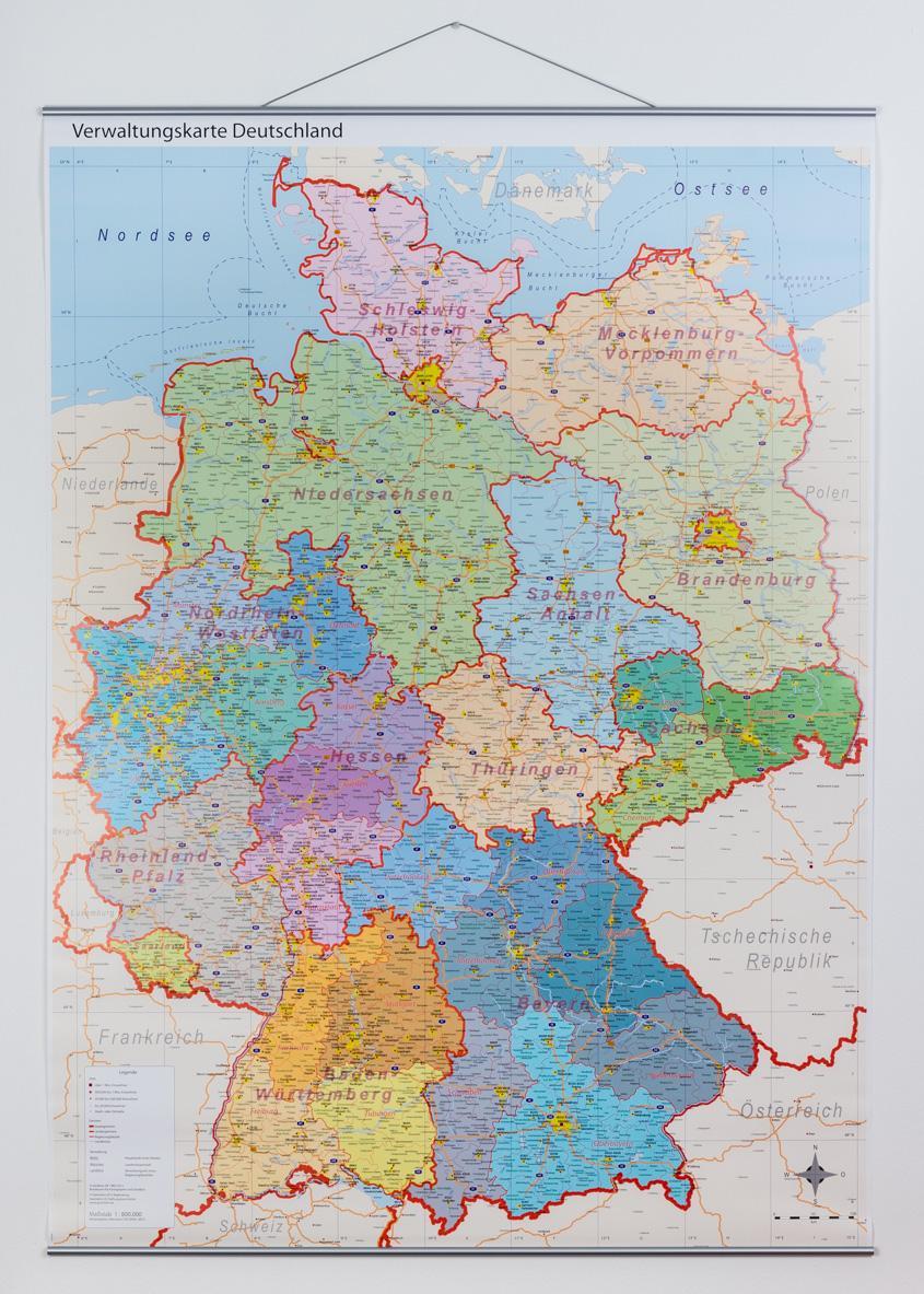 deutschlandkarte zum aufhängen Deutschlandkarte (politisch mit Metallleisten)