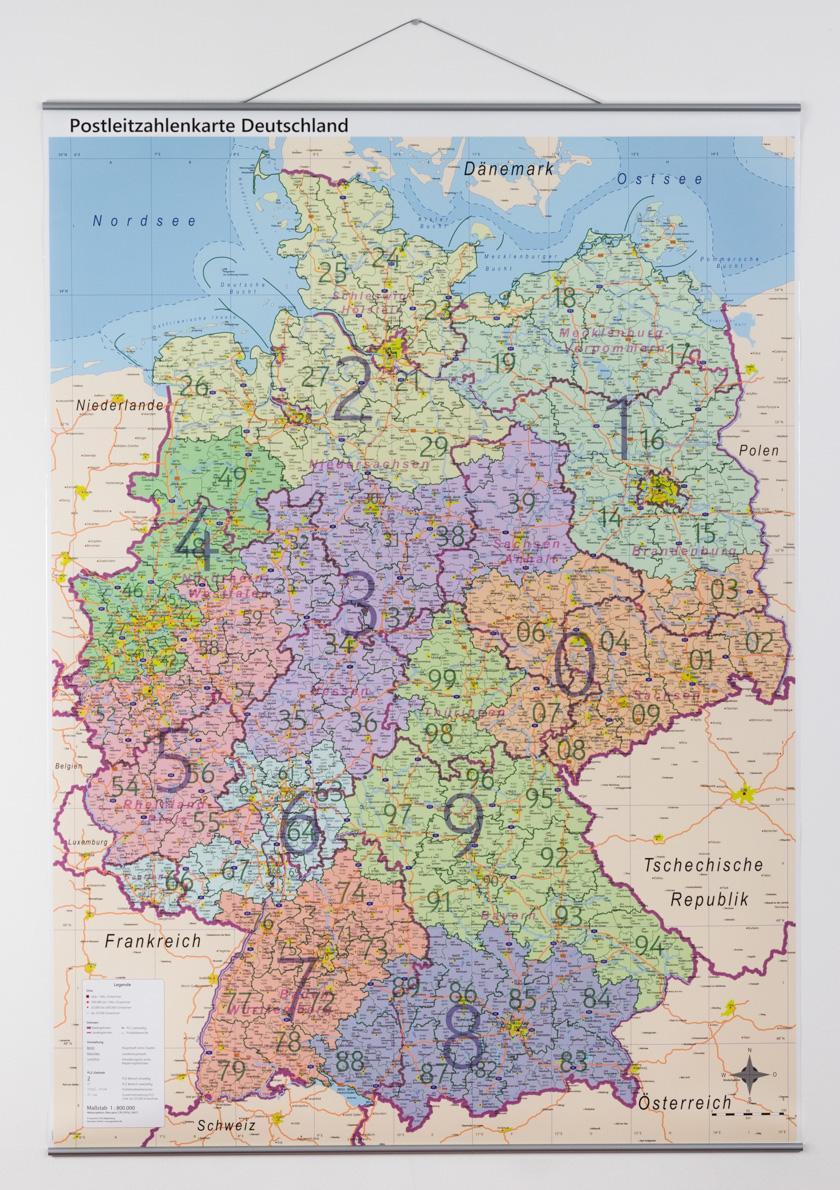 Postleitzahlen Karte Deutschland.Postleitzahlenkarte Mit Metallleisten A0