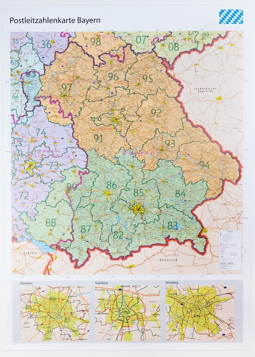 Postleitzahlen München Karte.Große Postleitzahlenkarte Bayern Laminiert